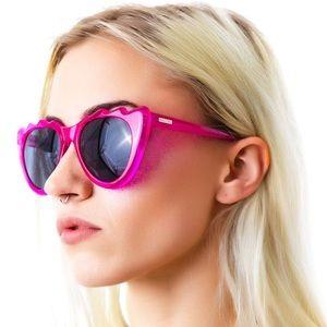 MINKPINK edgy wave cat eye pink sunglasses
